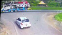 Woman's Car Flattened While Waiting At Junction