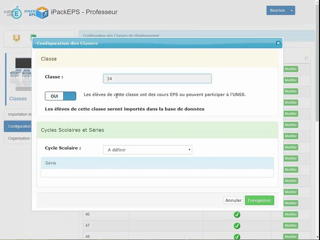 iPackEPS - Configuration des Classes