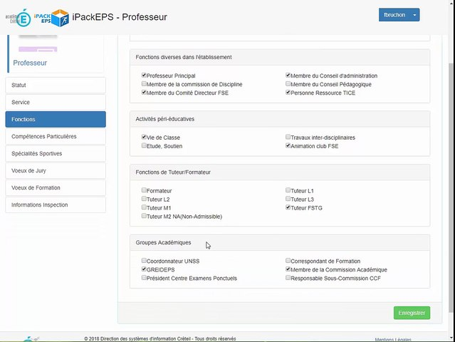 iPackEPS - Renseigner sa Fiche Professeur
