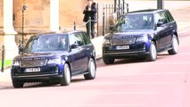 Prince Harry, Meghan, Prince William and Kate arrive in cars