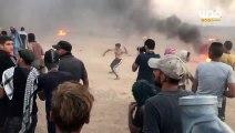 شاهد | إصابات في صفوف المتظاهرين خلال مواجهات اليوم مع جنود الاحتلال شرق غزة