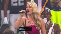 Camilla Kerslake sings National Anthem of Great Britain prior to Seahawks-Raiders
