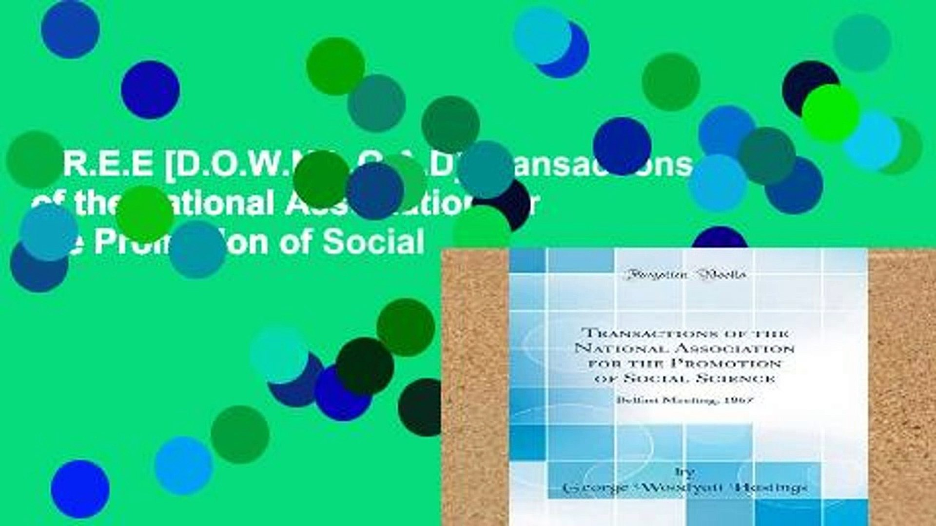F.R.E.E [D.O.W.N.L.O.A.D] Transactions of the National Association for the Promotion of Social