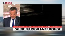 """Intempéries dans l'Aude : """" il y a une personne décédée et deux disparus """" selon le préfet de l'Aude, Alain Thirion à CNEWS"""