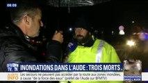 """Inondations Aude: un témoin raconte """"une vague est arrivée et la voiture a été emportée sur une centaine de mètres"""""""
