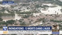 La ville de Trèbes, très touchée par les inondations dans l'Aude, observée depuis l'hélicoptère de BFMTV