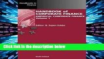 Library  Handbook of Corporate Finance: Empirical Corporate Finance: Volume 1 (Handbooks in Finance)