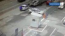 Un camion recule sur sa voiture sans le voir... Grosse frayeur!