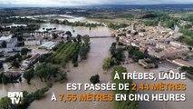 Ces images du drone BFMTV montrent l'étendue des inondations dans l'Aude