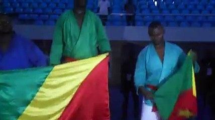Remise des médailles -100 kg Coupe d'Afrique de Kourach 2016 à Brazzaville, le Cameroun récolte une Médaille de Bronze