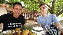 Central Asian Food - TEARDROP SOMSA (SAMOSA) and HUGE UZBEK DINNER in Tashkent, Uzbekistan!