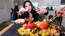 Lobster Shrimp Seafood Paella + Octopus MUKBANG | Eating Show
