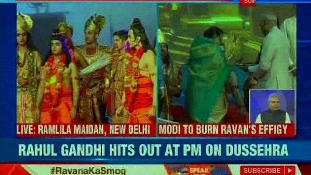 PM Narendra Modi at Ramlila ground for Dussehra; ablaze Ravana's effigy