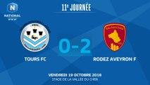 J11 : Tours  FC – Rodez Aveyron F (0-2), le résumé