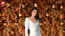 Kendall Jenner in pastel mini dress at the ninth annual Polo Classic Veuve Clicquot in Los Angeles.