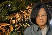Taiwan president meets family members of train crash victims