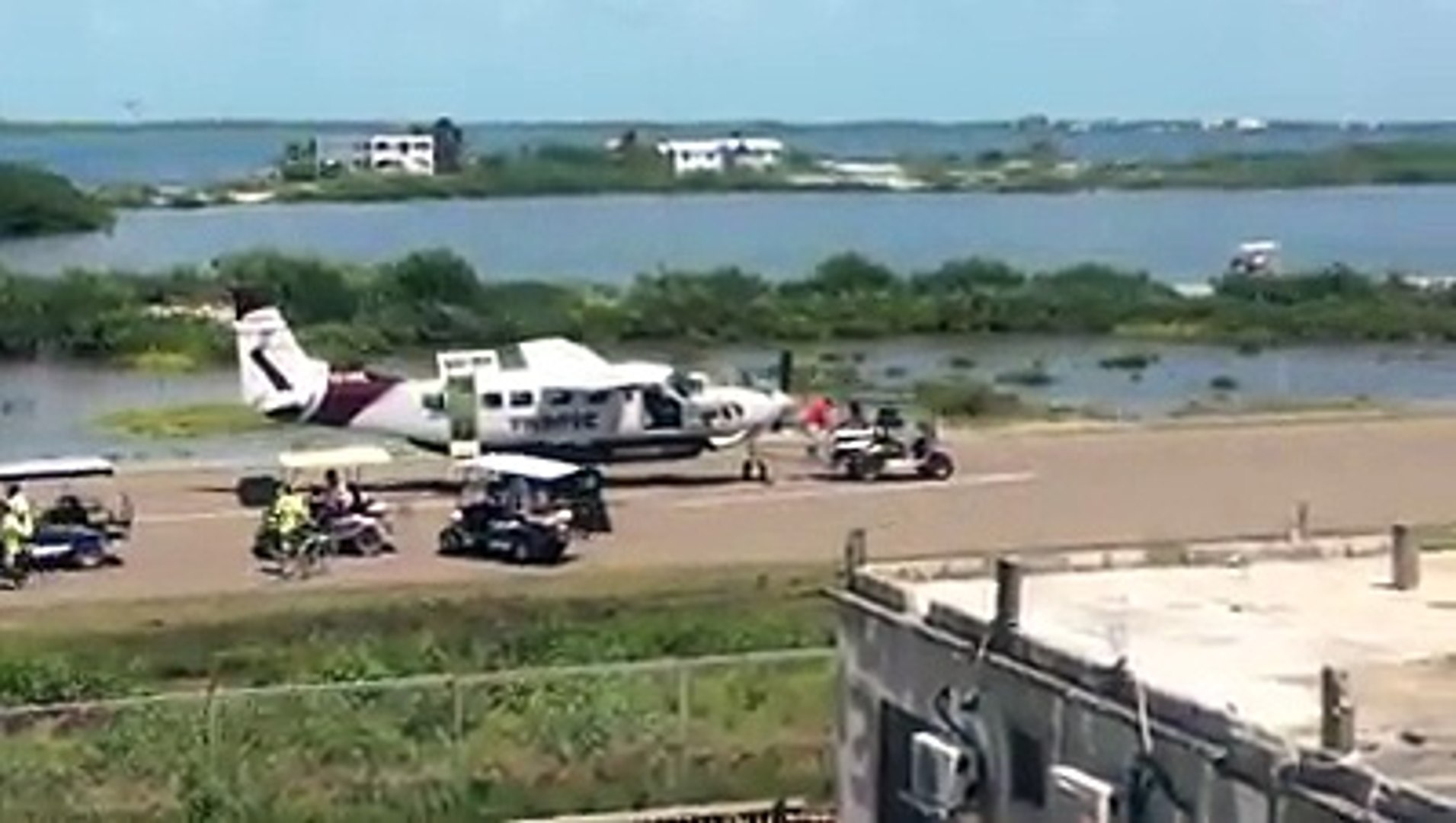 A Tropic Air Cessna Caravan aircraft ran off the runway in San Pedro Town  this morning Saturday, September 8th, after the pilot elected to abort the  flight  A