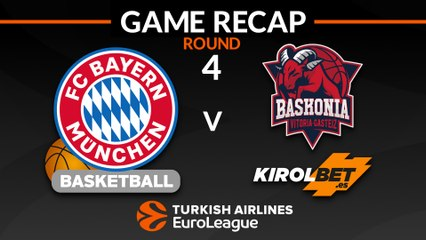 EuroLeague 2018-19 Highlights Regular Season Round 4 video: Bayern 77-71 Baskonia