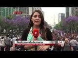 Realizan una valla humana en la CdMx conmemorando el Día Internacional de la Mujer