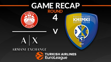 EuroLeague 2018-19 Highlights Regular Season Round 4 video: AX Milan 81-80 Khimki
