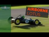 Lotus F1 car gets airborne and loses lead on last lap