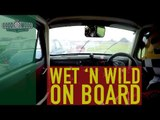 Karun Chandhok in Austin A30 wet race on board at Revival
