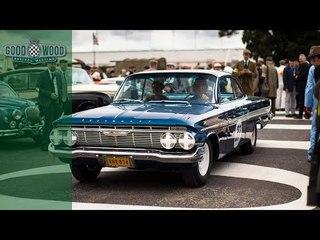 Dario Franchitti drives '60s Chevrolet Impala raced by Dan Gurney
