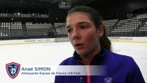 EDF U18 Fem. Interview d'Anaé Simon à l'occasion du stage à l'Aren'Ice