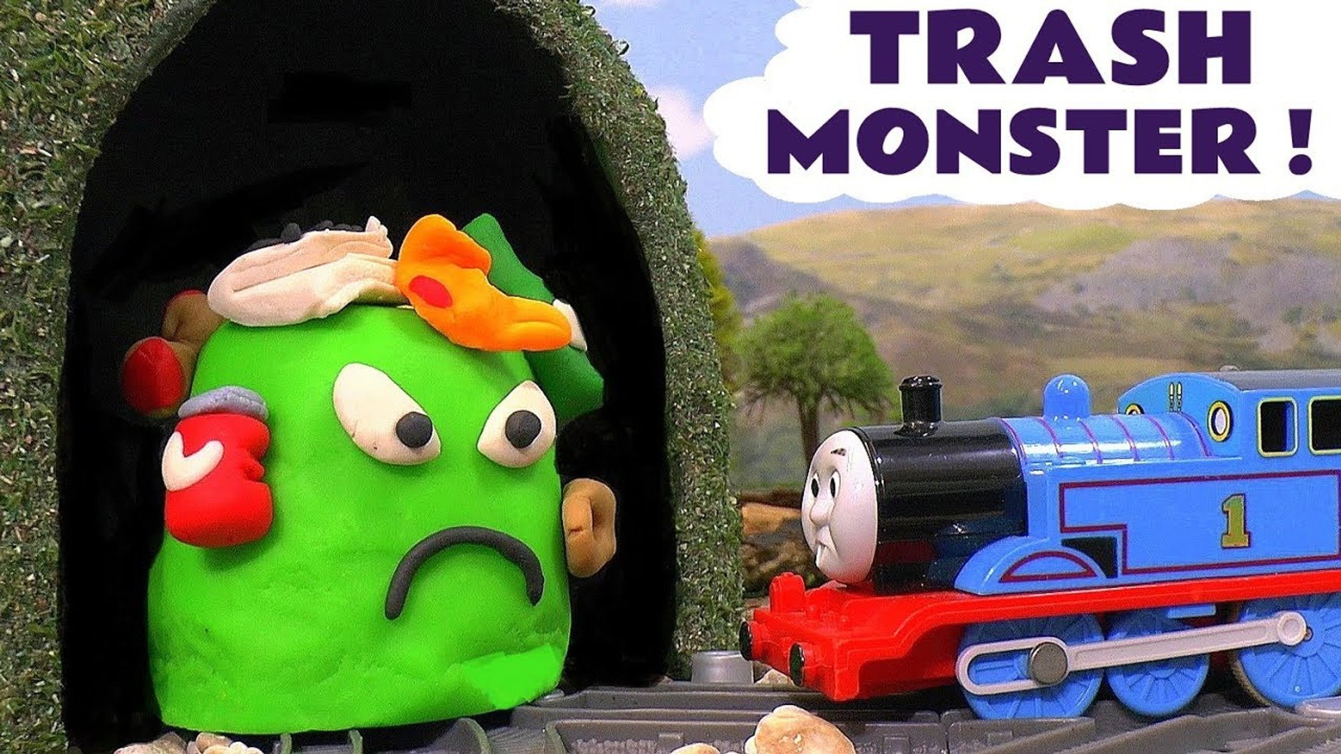 Thomas and Friends Toy Trains Story - The Trash Monster -  A Play Doh fun toy story for kids