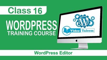 WordPress Training Course - Class 16 - Editor