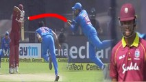 India VS West Indies 3rd ODI: Rohit Sharma takes super catch, Powell out for 21 | वनइंडिया हिंदी
