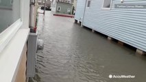 Entire neighborhood underwater from nor'easter flooding