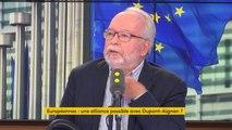 """Européennes """"M. Dupont-Aignan est dans une démarche un peu bizarre, il s'est déclaré tête de liste, il récupère des gens pas très intéressants qui partent du RN (..) C'est pas comme ça qu'on fait !"""" estime Wallerand de Saint-Just, RN"""