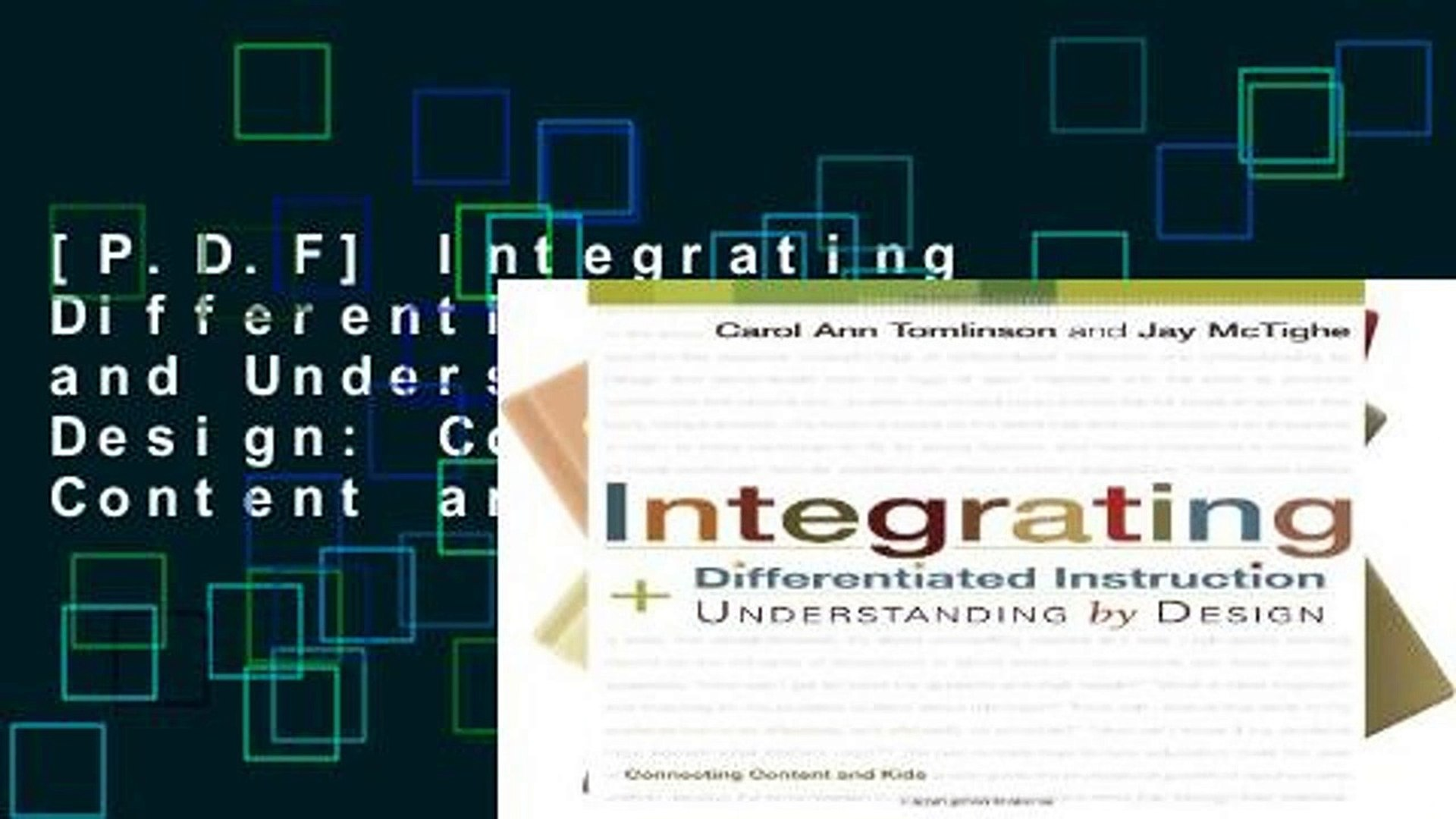 P D F Integrating Differentiated Instruction And Understanding By Design Connecting Content And Video Dailymotion