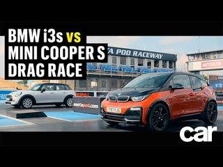 BMW i3s vs Mini Cooper S DRAG RACE   CAR Magazine