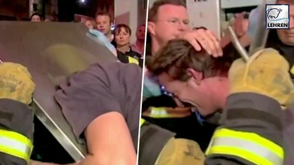 A Man Gets Stuck In Public Rubbish Bin While Retrieving Phone
