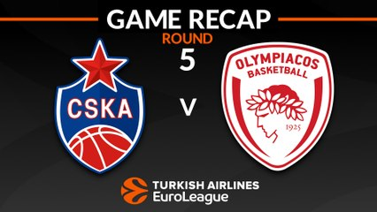 EuroLeague 2018-19 Highlights Regular Season Round 5 video: CSKA 69-65 Olympiacos