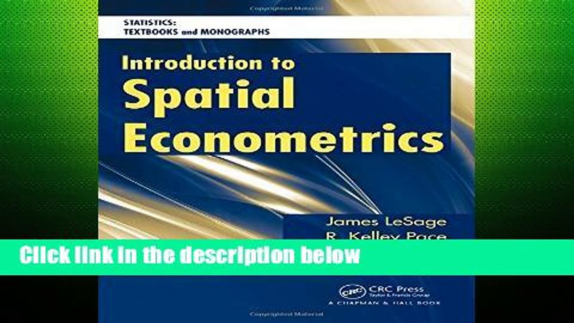 [P D F] Introduction to Spatial Econometrics (Statistics: A Series of  Textbooks and Monographs)