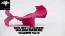 Como hacer una nave espacial tipo TIE FIGHTER de STAR WARS en Origami que ademas vuela recto
