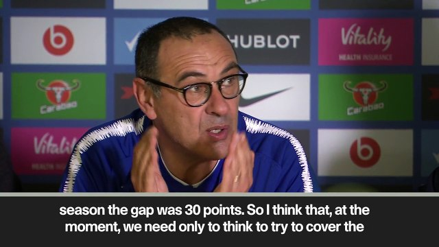 Eng Sub: Sarri assesses Chelsea title hopes as they look to catch Manchester City
