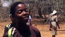 Zimbabwe cricket player Nomvula Sibanda in Sitezi communal lands where they were teaching school children how to play cricket.