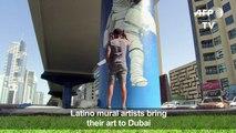 Artists in Dubai turn railway pillars into colourful murals