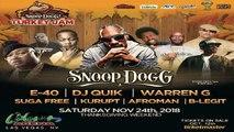 "Snoop Dogg, E-40, DJ Quik, Warren G, Suga Free, Kurupt, Afroman & B-Legit Live @ ""Snoop Dogg's Turkey Jam"", Orleans Arena, Las Vegas, NV, 11-24-2018"