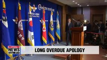 Defense chief says sorry for military's sexual assaults during Gwangju Democracy Movement