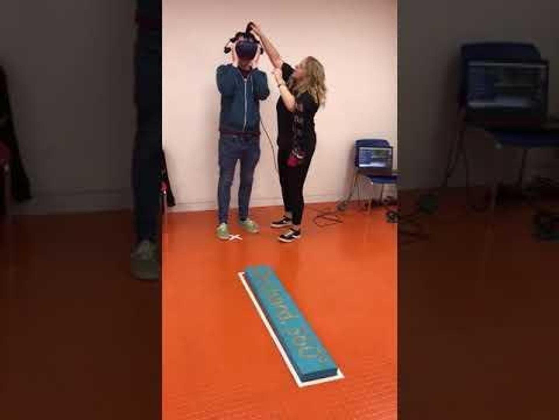 Guy Freaks Out Walking on Plank in Virtual Reality