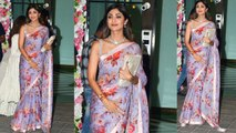 Arpita Khan Diwali Party: Shilpa Shetty looks SIMPLE & ELEGANT in Saree; Watch Video | FilmiBeat