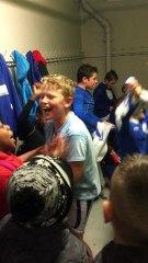 Ambiance dans les vestiaires de SARCELLES après les victoires de U 10 U 11