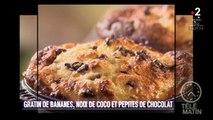 Gourmand - Gratin de bananes, noix de coco et pépites de chocolat