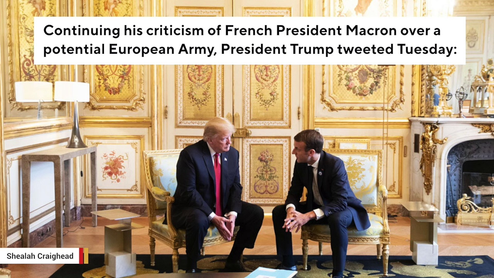 Trump Again Slams Macron Over European Army: 'They Were Starting To Learn German In Paris Befor
