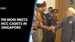 PM Modi meets NCC cadets in Singapore